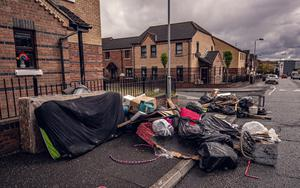 Rubbish dumped at the roadside in Spamount Street in north Belfast
