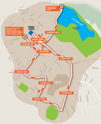 Map of the planned parade route through Lurgan, which has been approved by the Parades Commission following an application from the Apprentice Boys of Derry