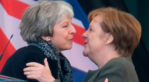 Prime Minister Theresa May meets German Chancellor Angela Merkel yesterday in Berlin