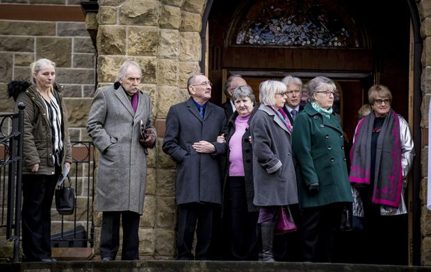 Mourners at the funeral of Betty Rainsford, former women's editor of the Belfast Telegraph