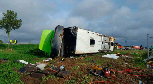 The coach following the accident in northern France