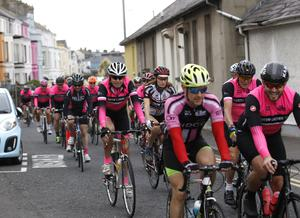 Cyclist's gather round Donaghadee harbor following a North Down Cycling Club tribute ride were over 500 cyclists took part in memory of NDCC member Gavin Moore