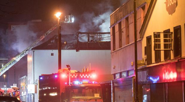 Fire crews at the scene at Envy nightclub in Derry last night
