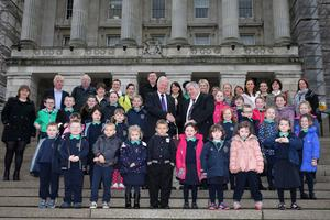 Clintyclay pupils and their principal with MLA Trevor Lunn at Stormont