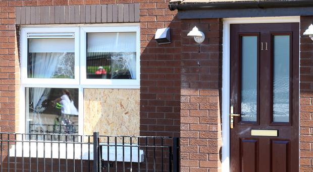 The house on Clonard Crescent that was hit by gunfire in the early hours of yesterday