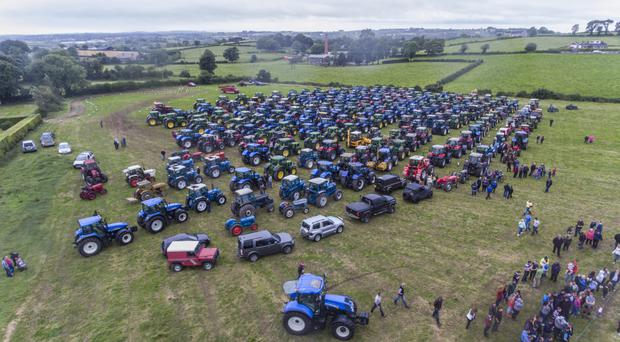 Aerial view of the huge turnout of tractors for the run in aid of Friends of the Cancer Centre