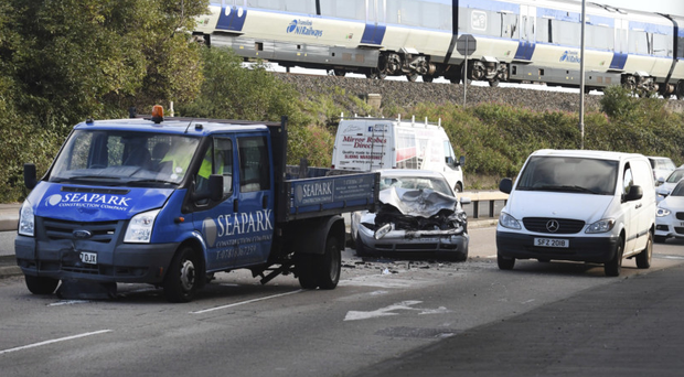 The scene of the crash involving six vehicles on the Holywood bypass yesterday morning