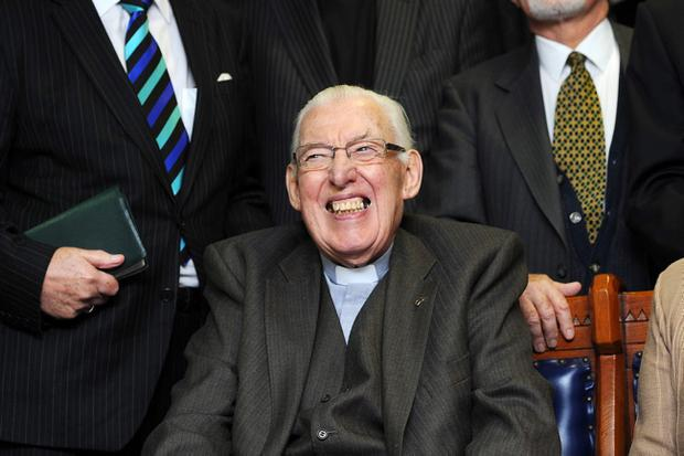 27/1/12 PACEMAKER BELFAST.  The Rev. Ian Paisley poses with fellow clergy before  the Special Farewell Service in his honour after 65 years of Ministry at the Martyrs Memorial Church, on the Ravenhill Road, Belfast. Picture CHARLES MCQUILLAN/PACEMAKER
