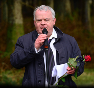 John at a memorial event for murdered backpacker Inga Maria Hauser