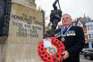 Service: Les Boyd from the Waterside Branch of the Royal British Legion at the Cenotaph in Londonderry
