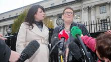Grainne Teggart from Amnesty International and Jane Christie, whose daughter Sarah Ewart had to travel to England for an abortion