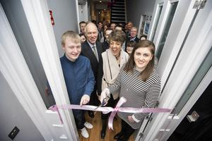 From left: John James Fisher, CLIC Sargent chair Peter Hollins, CLIC Sargent chief executive Kate Lee, and Danielle McGriskin cut the ribbon at the new Home From Home yesterday