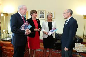 Deputy First Minister Martin McGuinness, First Minister Arlene Foster, Health Minister Michelle O'Neill and Professor Rafael Bengoa before their press conference in Parliament Buildings