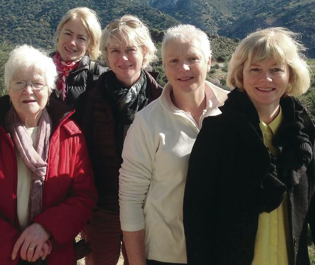 Caroline McErlean (front) with (from left) her mum Kathleen Conlon and sisters Theresa, Bernie and Bronagh