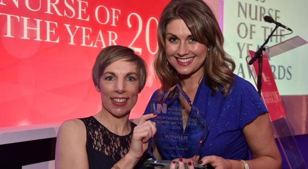 Cherith Semple (left), RCN Northern Ireland Nurse of the Year 2015, and Sarah Travers, who hosted the awards ceremony