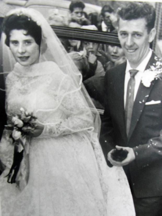 Doreen McPernaghan and her husband Hugh on their wedding day