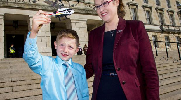 Shaun McCann and Dr Janet Acheson at Stormont yesterday