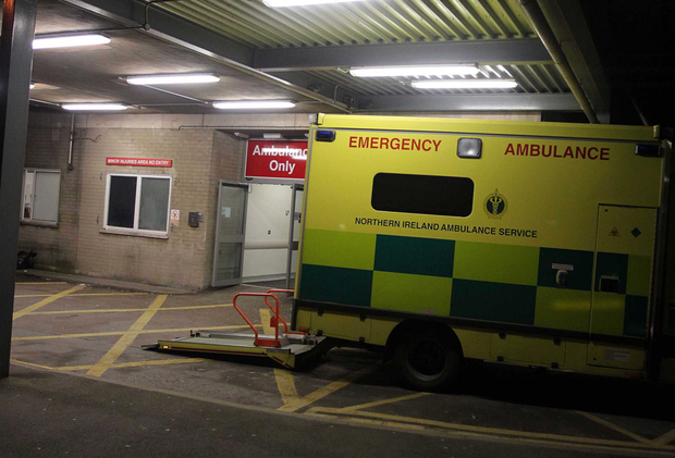 An ambulance at the Ulster Hospital's emergency department, which saw the biggest increase in cases at the weekend