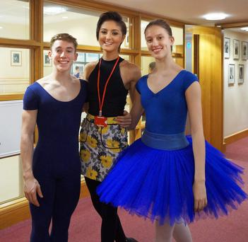 Amy Uprichard with Sean and Nadia from the Royal Ballet School in London