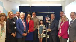 Margaret Rogers (CEO, Heart Children Ireland), Moira Kearney (children's hospital co-director), Len O'Hagan, Martin Dillon, Eilish Hardiman (CEO, Child Health Ireland), Rory Best, Aimee Brady, Prof Frank Casey, Richard Pengelly, Sarah Quinlan (CEO, Children's Heartbeat Trust), and Michael McBride open the new unit