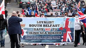 A protest against the Northern Ireland Protocol held in Belfast earlier this year. Credit: Presseye