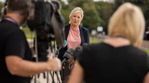 Contradiction: Michelle O'Neill returns to Stormont yesterday after recovering from Covid-19. Credit: Liam McBurney/PA