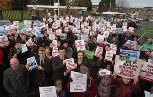 More than 500 children from all schools in the Moyle district came out to protest against the closure of Dalriada Hospital
