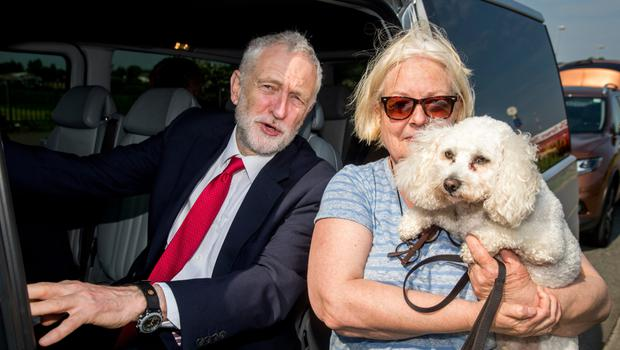 Jeremy Corbyn meets Betty Keegan and Blossom in Strabane