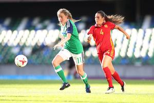 Northern Ireland's Leyla McFarland in action against Spain