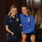 Under 19 footballers Leyla McFarland and Megan Reilly