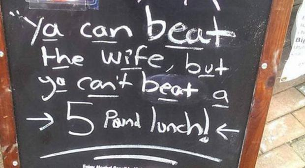 Offensive: blackboard outside Belfast restaurant