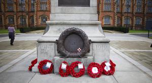 The wreaths in place yesterday