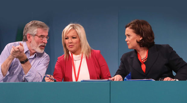 Michelle O'Neill with Gerry Adams and Mary Lou McDonald