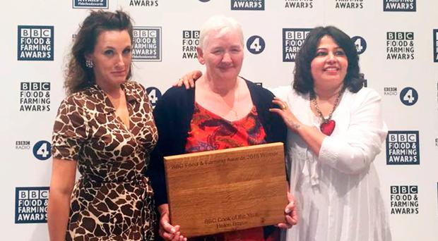 Helen Boyce, Cook of the Year at the BBC Food and Farming Awards, with Grace Dent (left) and Romy Gill