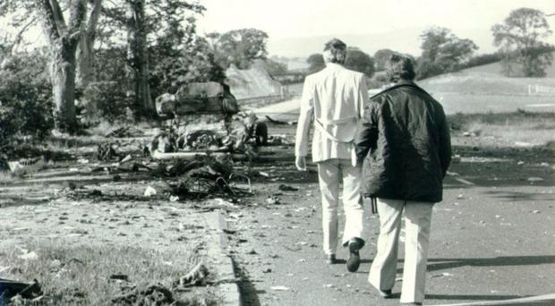 Members of the security forces at the aftermath of the 1975 massacre