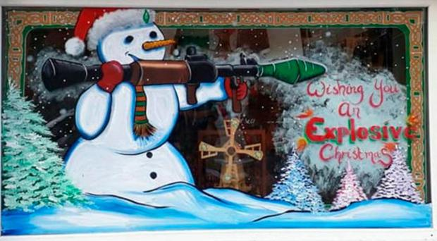 The display which showed a snowman with a rocket launcher