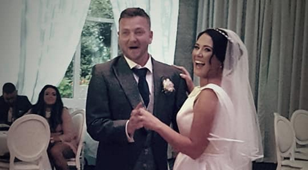Lynne and Andrew Brownlee on their wedding day