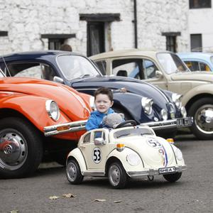 Shea Lawlor (4) in his mini VW 'Herbie' Beetle inspired by the Disney movie