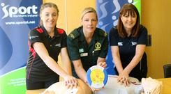 Louise McCrea from Special Olympics Ulster; Stephanie Leckey from NI Ambulance Service, and Antoinette McKeown, CEO Sport NI