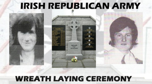 A poster advertising the Saoradh dissident memorial service for IRA men Edward Grant and Brendan Quinn, who died on Christmas Eve 1973