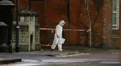 Police investigators at the scene of an incident in Coleraine in the early hours of Monday morning