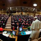 Pope Francis, cardinals and bishops at the opening of a global child protection summit