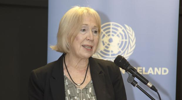 Patricia Irvine, chair of the United Nations Association NI, speaking at World Press Freedom Day in Belfast