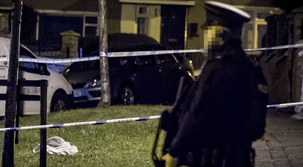 Police at the scene of a shooting incident in the Norglen Road area