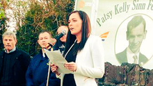 Orfhlaith Begley MP speaking at a hunger strike event