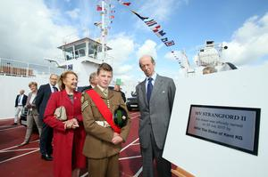 The Duke of Kent with Cadet Alexander Lane from Ballygowan at the launch of the Strangford ferry