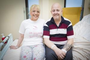 Sharon Traynor and her former husband Peter at the City Hospital in Belfast before their separate surgeries planned for today
