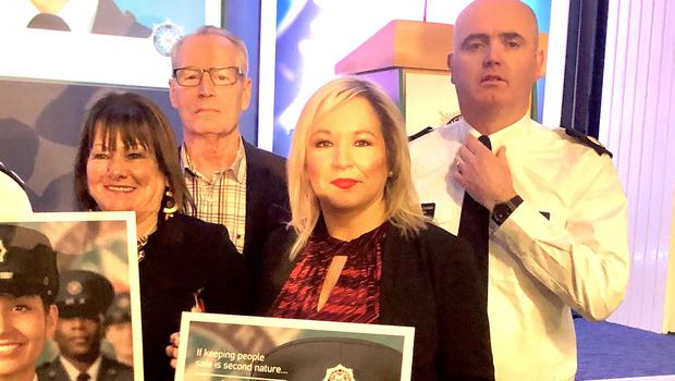 Michelle O'Neill attended the PSNI recruitment event (PA)