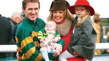 Tony McCoy with his daughter Eve, son Archie and wife Chanelle