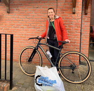 Belfast City Hospital pharmacist Sinead Redmond with her new bike from Chain Reaction Cycles